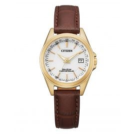 Citizen EC1183-16A Eco-Drive Ladies' Radio-Controlled Solar Watch Brown/Rose