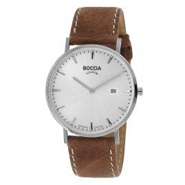 Boccia 3648-01 Herrenuhr Titan Braun/Silberfarben