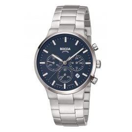 Boccia 3746-02 Men's Wristwatch Chronograph Titanium Blue