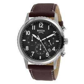 Boccia 3745-02 Men's Watch Chronograph Titanium with brown Leather Strap