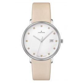 Junghans 047/4860.00 Women's Watch Form Damen Beige Leather Strap