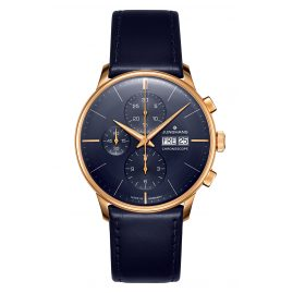 Junghans 027/7024.00 Men's Automatic Watch Meister Chronoscope blue / rose gold
