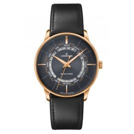 Junghans 027/5013.02 Automatic Men's Watch Meister Worldtimer Leather Strap