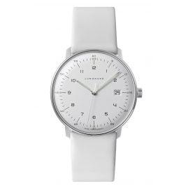 Junghans 041/446-Weiß max bill Quarz Armbanduhr mit 2 Lederbändern