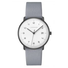 Junghans 041/4064.04 max bill Watch Quartz with Grey Leather Strap