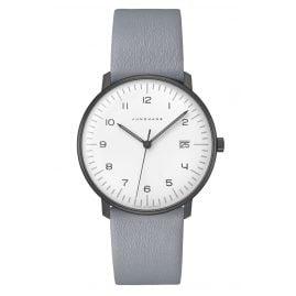 Junghans 041/4064.04 max bill Armbanduhr Quarz mit hellgrauem Lederband