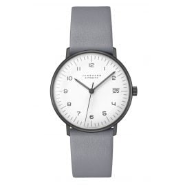 Junghans 027/4006.04 max bill Wristwatch Small Automatic Grey Leather Strap