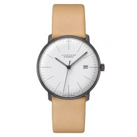 Junghans 027/4000.04 max bill Automatic Watch with Beige Leather Strap