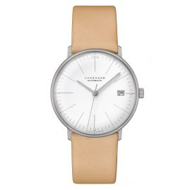 Junghans 027/4004.04 max bill Ladies Watch Small Automatic Beige Leather Strap