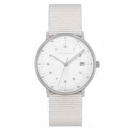 Junghans 047/4050.04 max bill Quartz Ladies' Watch Light Grey Nato Strap