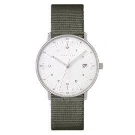 Junghans 047/4051.04 max bill Ladies' Watch Quartz Green Nato Strap