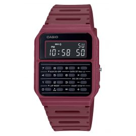 Casio CA-53WF-4BEF Vintage Edgy Wristwatch with Calculator Red