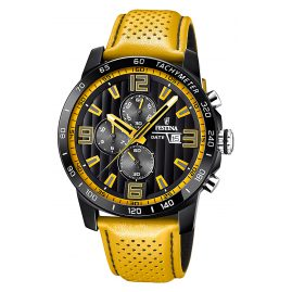 Festina F20339/3 Mens Watch Chronograph Leather Strap Yellow