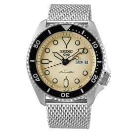 Seiko 5 Sports SRPD67K1 Automatic Men's Watch Stainless Steel Mesh Strap Beige