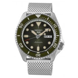 Seiko 5 Sports SRPD75K1 Automatic Watch for Men Stainless Steel Mesh Strap Green