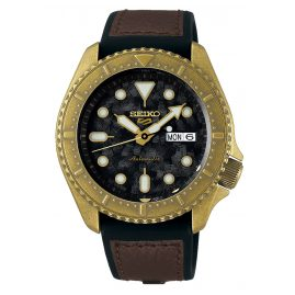 Seiko 5 Sports SRPE80K1 Automatic Watch for Men Brown Leather