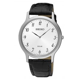 Seiko SUP863P1 Men's Solar Wristwatch with Black Leather Strap