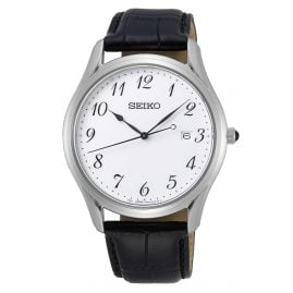 Seiko SUR303P1 Men's Watch Sapphire Crystal Black Leather Strap White Dial