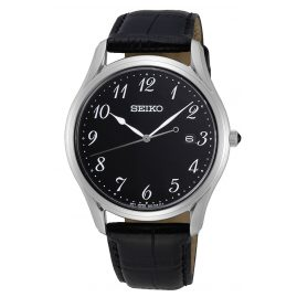 Seiko SUR305P1 Men's Watch Sapphire Crystal Black Leather Strap