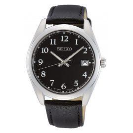 Seiko SUR461P1 Herren-Armbanduhr mit Lederband Schwarz