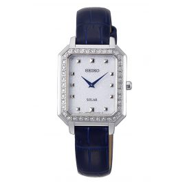 Seiko SUP429P1 Ladies' Solar Wristwatch with Blue Leather Strap