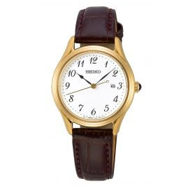 Seiko SUR638P1 Ladies' Watch with Brown Leather Strap gold / white
