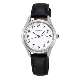 Seiko SUR639P1 Women's Watch Quartz with Black Leather Strap