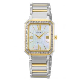 Seiko SUP428P1 Ladies' Solar Watch Two-Colour with Crystals