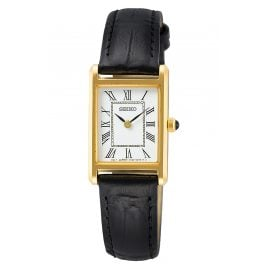Seiko SWR054P1 Women's Watch with Black Leather Strap