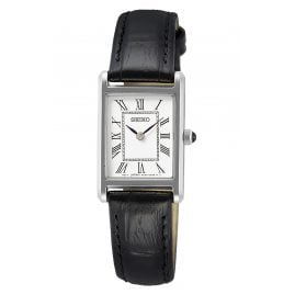 Seiko SWR053P1 Ladies' Wristwatch with Black Leather Strap