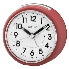 Seiko QHE125R Alarm Clock with Silent Movement Red