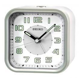 Seiko QHE128A Wecker ohne Ticken weiß / silber