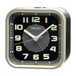 Seiko QHE128T Alarm Clock No Ticking black / silver