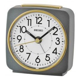 Seiko QHE140N Alarm Clock No Ticking grey / gold