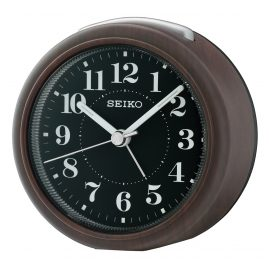 Seiko QHE157A Alarm Clock No Ticking Brown Wood Look