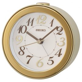 Seiko QHE172G Round Alarm Clock No Ticking silver / gold