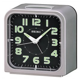 Seiko QHK025S Alarm Clock with Bell Alarm silver / black
