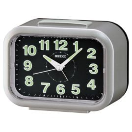 Seiko QHK026S Alarm Clock with Bell Alarm silver / black