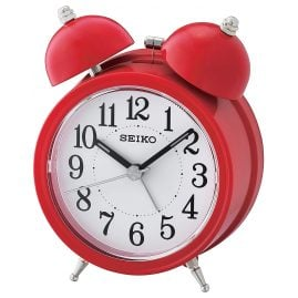 Seiko QHK035R Bell Alarm Clock with Quiet Movement Red / White