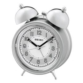 Seiko QHK035S Bell Alarm Clock With Quiet Movement silver / white