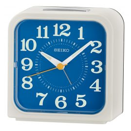 Seiko QHK048W Bell Alarm Clock Quiet Movement White / Blue