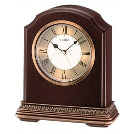 Seiko QXE018B Table Clock with Alarm Function Brown Wood