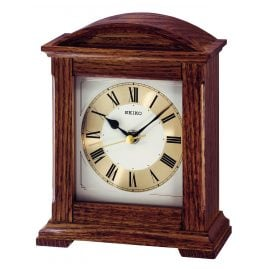 Seiko QXG123B Table Clock Brown Oak Wood without Ticking