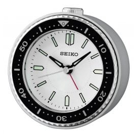 Seiko QHE184J Alarm Clock without Ticking Quartz Silver Tone