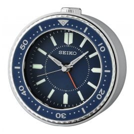 Seiko QHE184L Alarm Clock without Ticking Quartz blue / silver