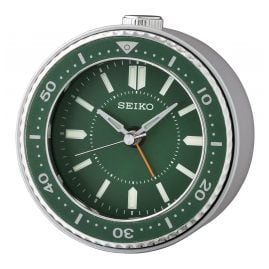 Seiko QHE184M Wecker Quarz Leisegang grün / silber