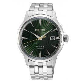 "Seiko SRPE15J1 Presage Automatic Men's Watch ""Cocktail"" silver / green"
