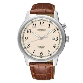 Seiko SKA779P1 Kinetic Men's Watch with Brown Leather Strap
