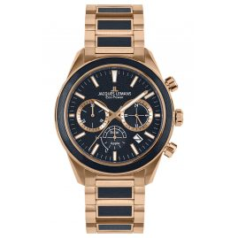 Jacques Lemans 1-2115H Eco-Power Men's Chronograph Solar Rose Gold Tone/Black