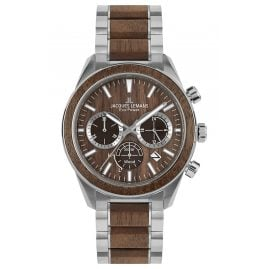 Jacques Lemans 1-2115J Eco-Power Men's Solar Watch Chronograph Steel/Brown